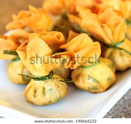 Fried pork dumplings wrapped is food thailand - stock photo