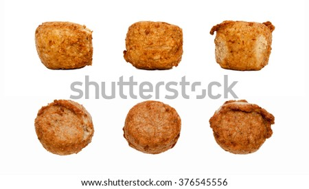 Fried pork meatballs on white background. Juicy meat cutlets isolated. Fried meatballs. - stock photo