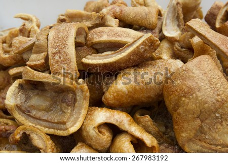 fried pork rinds - stock photo