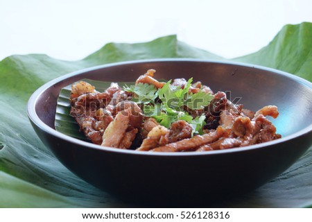 Fried pork with fishsauce
