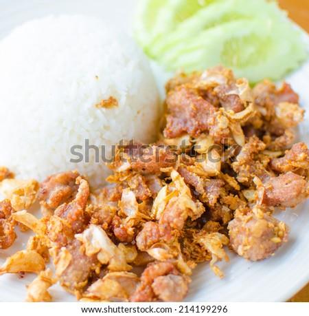 Fried pork with Garlic - stock photo