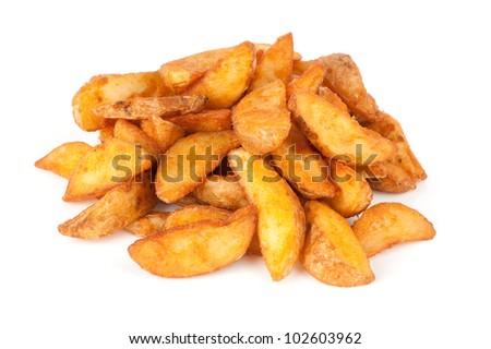 fried Potato wedges. Fast food. Isolated on white - stock photo