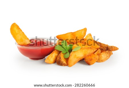 Fried potatoes and ketchup isolated on white background. - stock photo