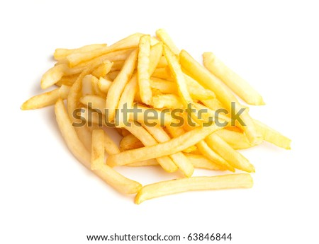 fried potatoes isolated on a white background - stock photo