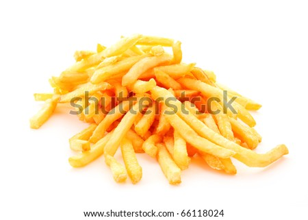 fried potatoes on white background - stock photo