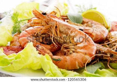 fried prawns with salad - stock photo