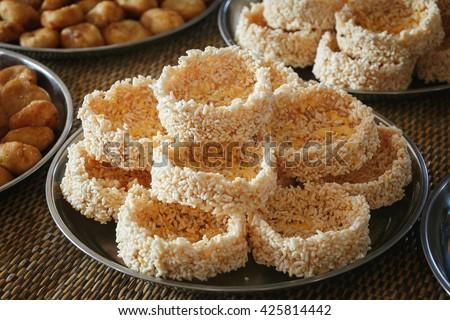 Fried rice cakes aromatic crispy - stock photo