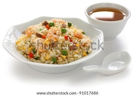 fried rice, chinese cuisine, yangzhou style - stock photo