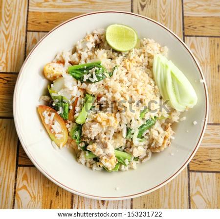 fried rice in dish ,Thai cuisine - stock photo