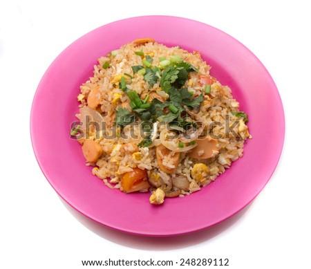 Fried rice isolated on white background - stock photo