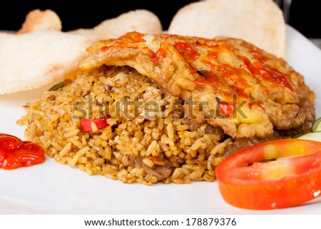 Fried Rice Nasi Goreng Indonesia Traditional Food - stock photo