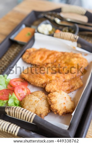 Fried rice sushi with breast chicken fried. - stock photo