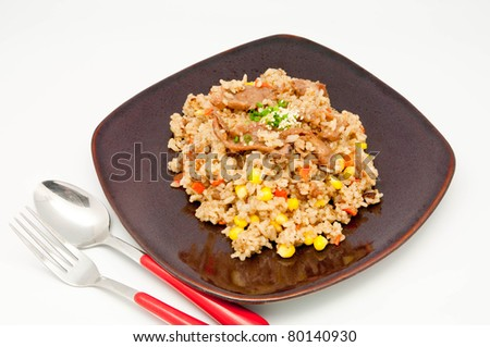 fried rice Teriyaki pork  on whit backgrpund - stock photo