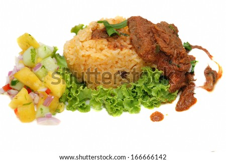 Fried rice with curry - stock photo