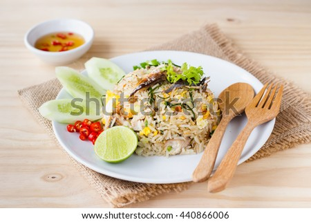 fried rice with  mackerel fish .thai food