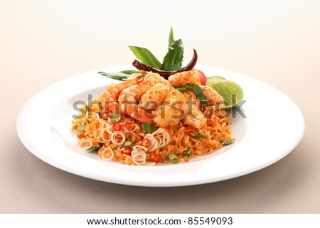 Fried rice with seafood ,Thai Food - stock photo