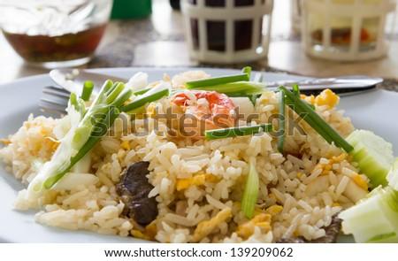 Fried rice with shrimp - stock photo