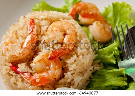 fried rice with shrimp close up. - stock photo
