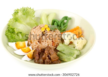 Fried rice with shrimp paste sauce and and sweet pork