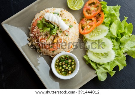 Fried rice with shrimp, squid, sea food, Thailand.
