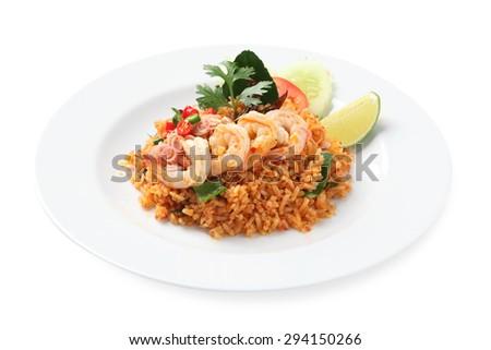 fried rice with shrimp, Thai cuisine - stock photo