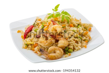 Fried rice with shrimps - asian food - stock photo