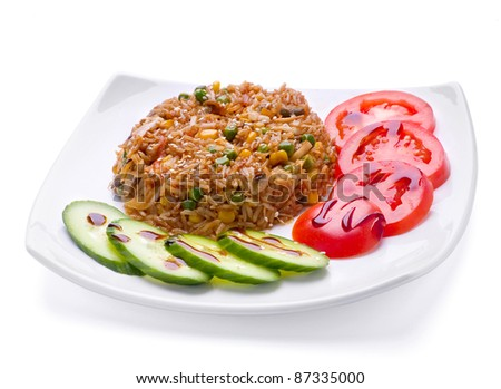 Fried rice with veal slice and vegetable