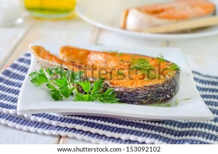 fried salmon - stock photo