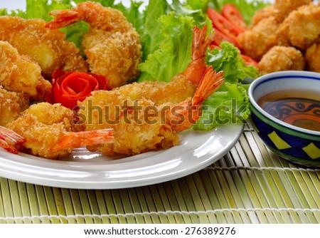 Fried shrimp ball on background. - stock photo