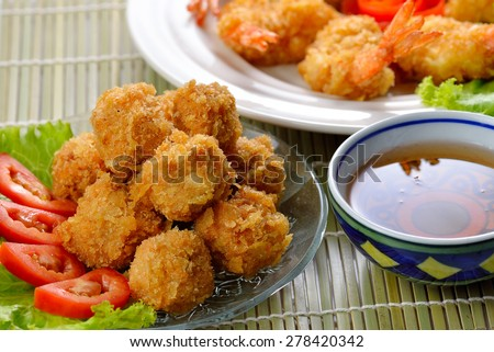 Fried shrimp ball on background. - stock photo