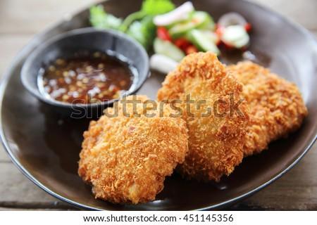 Fried shrimp meat ball thai food - stock photo