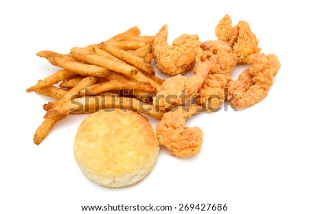 fried shrimps and biscuit, french fries isolated on white  - stock photo