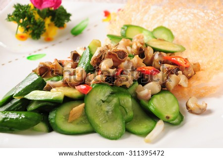 Fried snail with cucumber