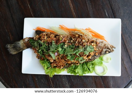 Fried Snapper with garlic - stock photo