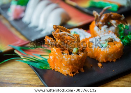 Fried soft shell crab sushi , Japanese style food