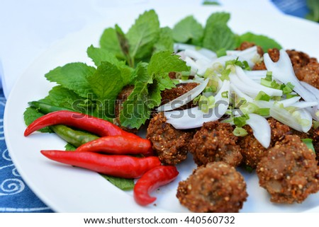 Fried spicy minced pork balls / soft Focus - stock photo
