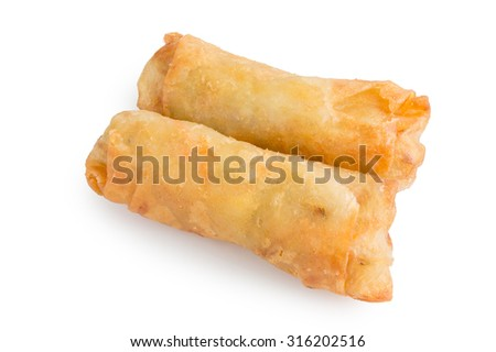 Fried Spring rolls on white background