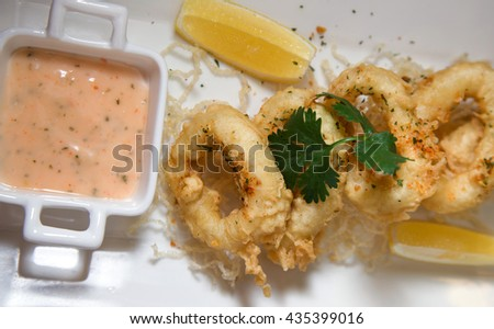 fried squid seafood