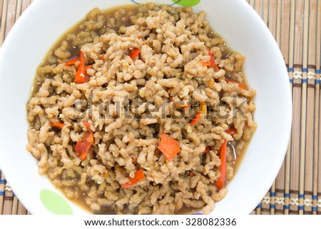 fried Textured Vegetable Protein in Vegetarian festival, Vegetarian food - stock photo