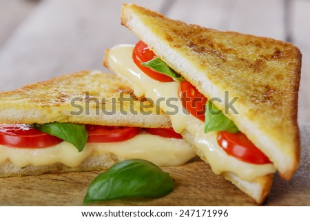 fried toast sandwich with mozzarella and cherry tomatoes - stock photo