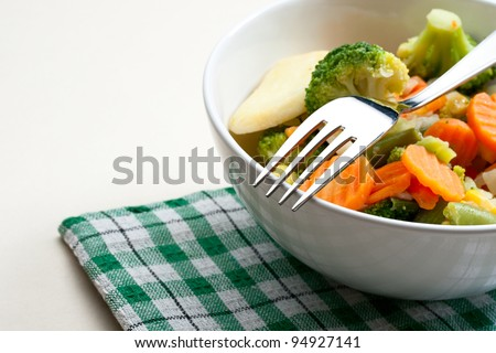 Fried vegetables on the plate