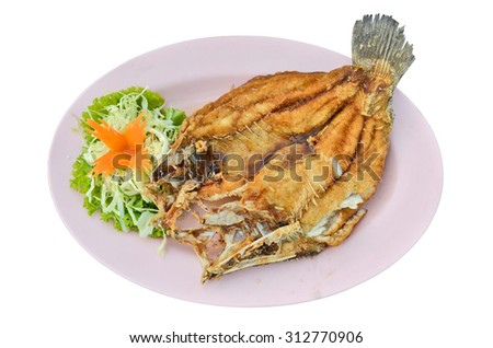 Fried widespread snapper with fresh vegetable
