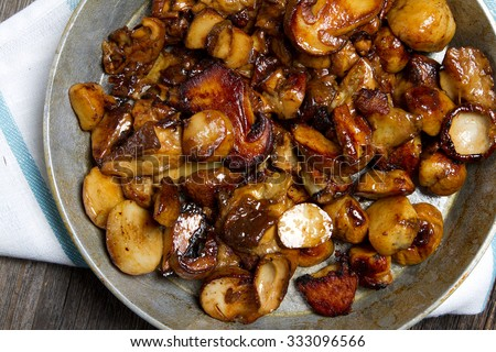 Fried wild mushrooms - stock photo