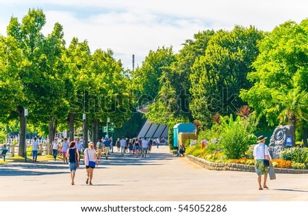 FRIEDRICHSHAFEN, GERMANY, JULY 24, 2016: View of a park and a lakeside promenade of the german city Friedrichshafen.