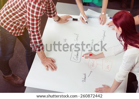 Friend Leaning Around the Table Discussing the Mind Map on White Large Poster Map. - stock photo