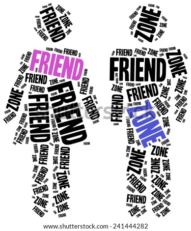 Friend zone or failed relationship concept. Word cloud illustration. - stock photo
