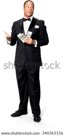 Friendly African man with short black hair in evening outfit holding money - Isolated