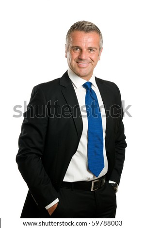 Friendly and confident mature businessman looking at camera and smiling isolated on white background - stock photo