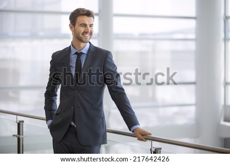 Friendly and smiling businessman looking at the horizon - stock photo