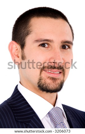 Friendly business man portrait over a white background